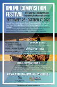 Online Composition Festival with composer Jenni Brandon & the Heartland Marimba Quartet