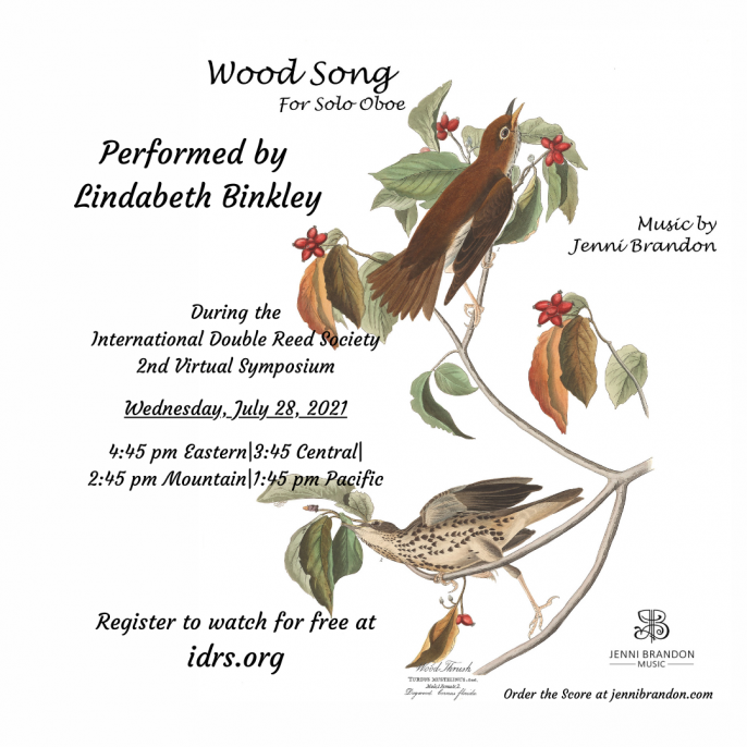 Wood Song for Solo Oboe, by Jenni Brandon, Performed by Lindabeth Binkley at IDRS 2021